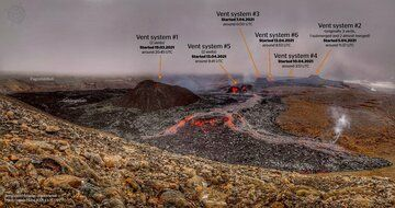 All vents including #5 fissure vent after 2 months since eruption started (image: @geoviews/twitter)