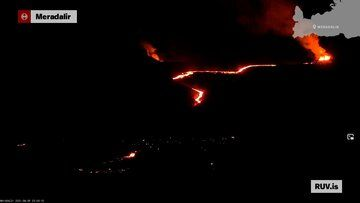 The new lava flow after opening the 3rd eruptive fissure vent (image: RUV.is webcam)