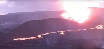 Lava fountain activity at Fagradalsfjall last night (image: RUV webcam)