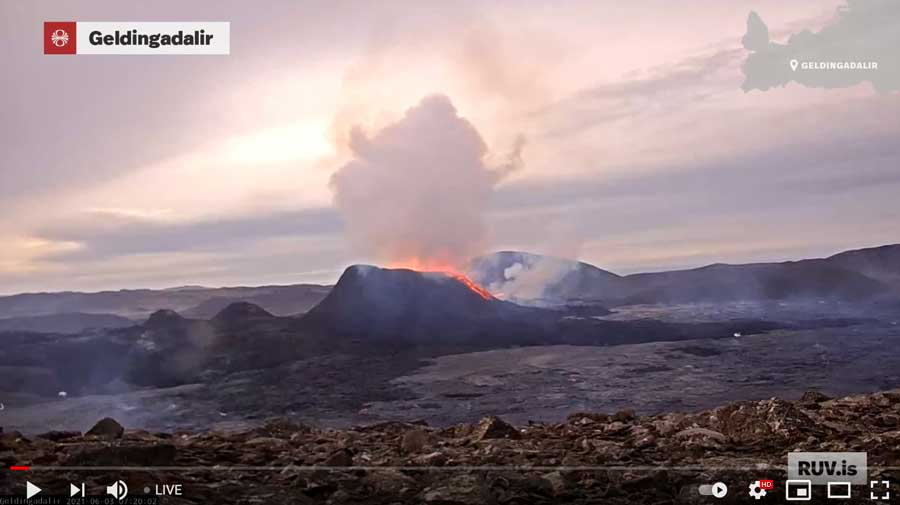 Lava overflow from the main vent at the Reykjanes eruption in Iceland this morning (image: RUV webcam)
