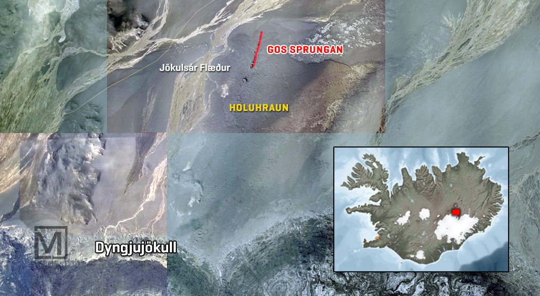 Location of the eruptive fissure this morning (RUV)
