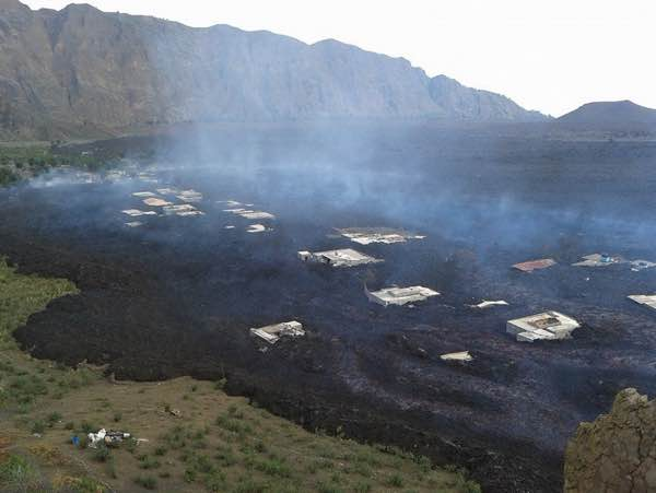Fogo's lava flow reaching Bangaeira in the background - parts of destroyed Portela in the foreground