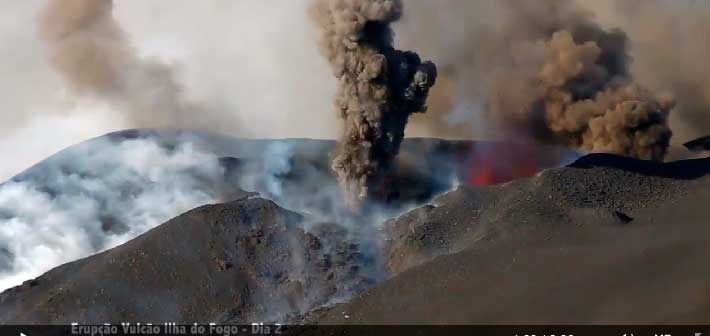 Explosive activity at the eruptive vents of Fogo on 25 Nov 2014 (MuzikaTV)