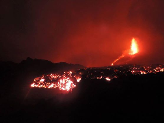 Lava fountains and flow from the new eruption at Fogo (Fogonews)