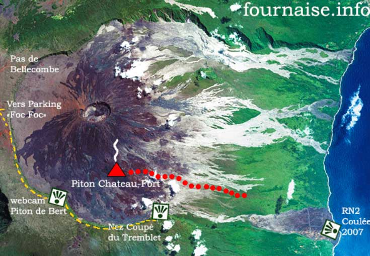 Approximate location of the lava flow yesterday evening (fournaise.info)