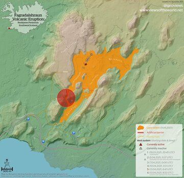 A new lava flow map depicts the affected area of hiking trail (image: @EIlyinskaya/twitter)