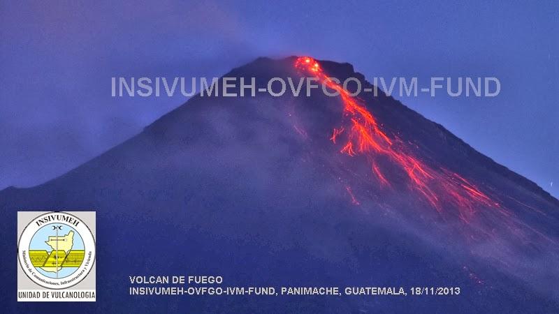 Lava flow on Fuego on 18 Nov
