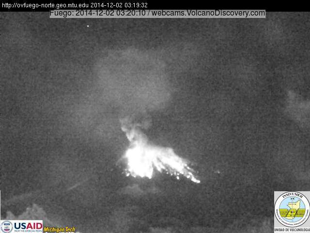 Strong eruption at Fuego volcano in Guatemala last night