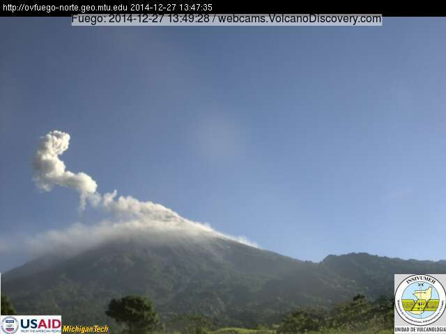 Eruption plume from Fuego this morning