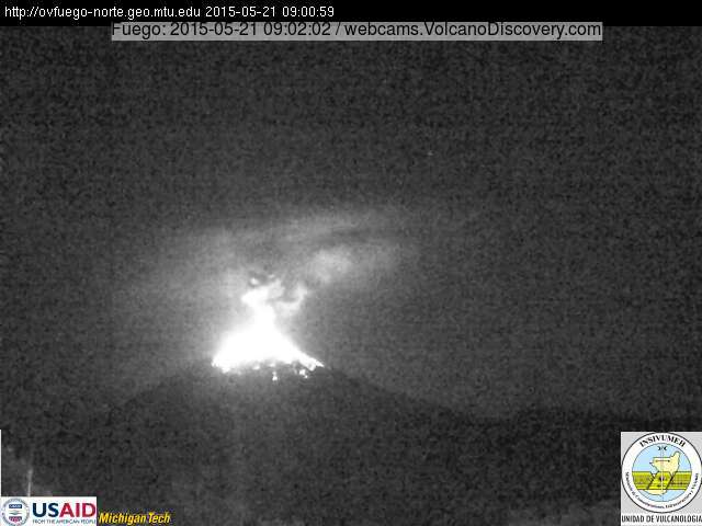 Strong explosion at Fuego volcano yesterday