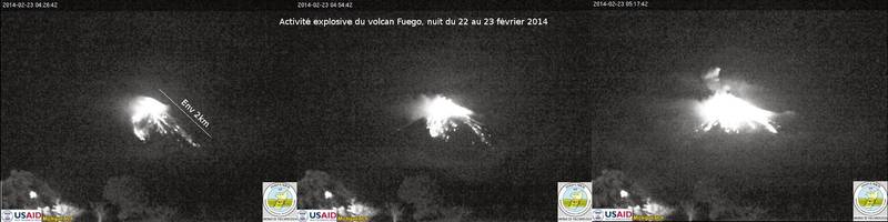 Explosions at Fuego today (webcam images compiled by Culture Volcan)