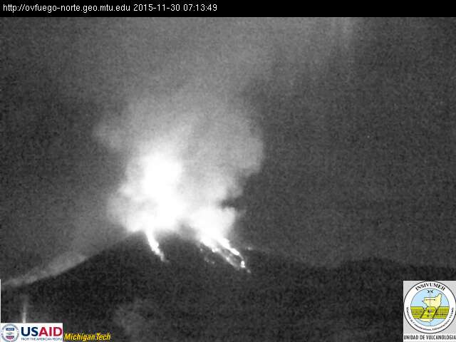 Lava flows from Fuego volcano this morning