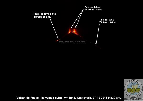 Lava fountains and flows at Fuego yesterday (INSIVUMEH)