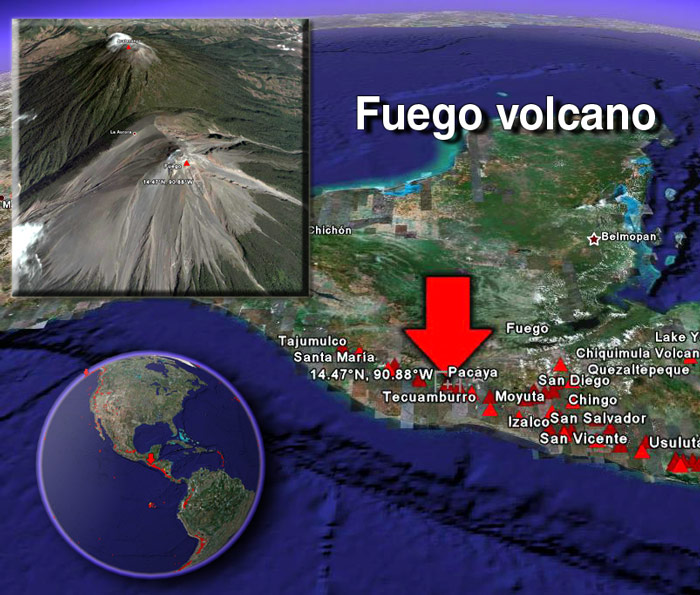 Satellite image of Fuego volcano by (c) Google Earth View