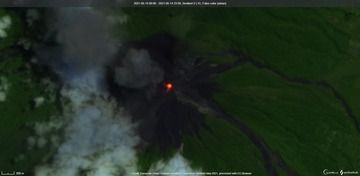 Near-constant incandescence within the summit crater of Fuego volcano (image: Sentinel 2)