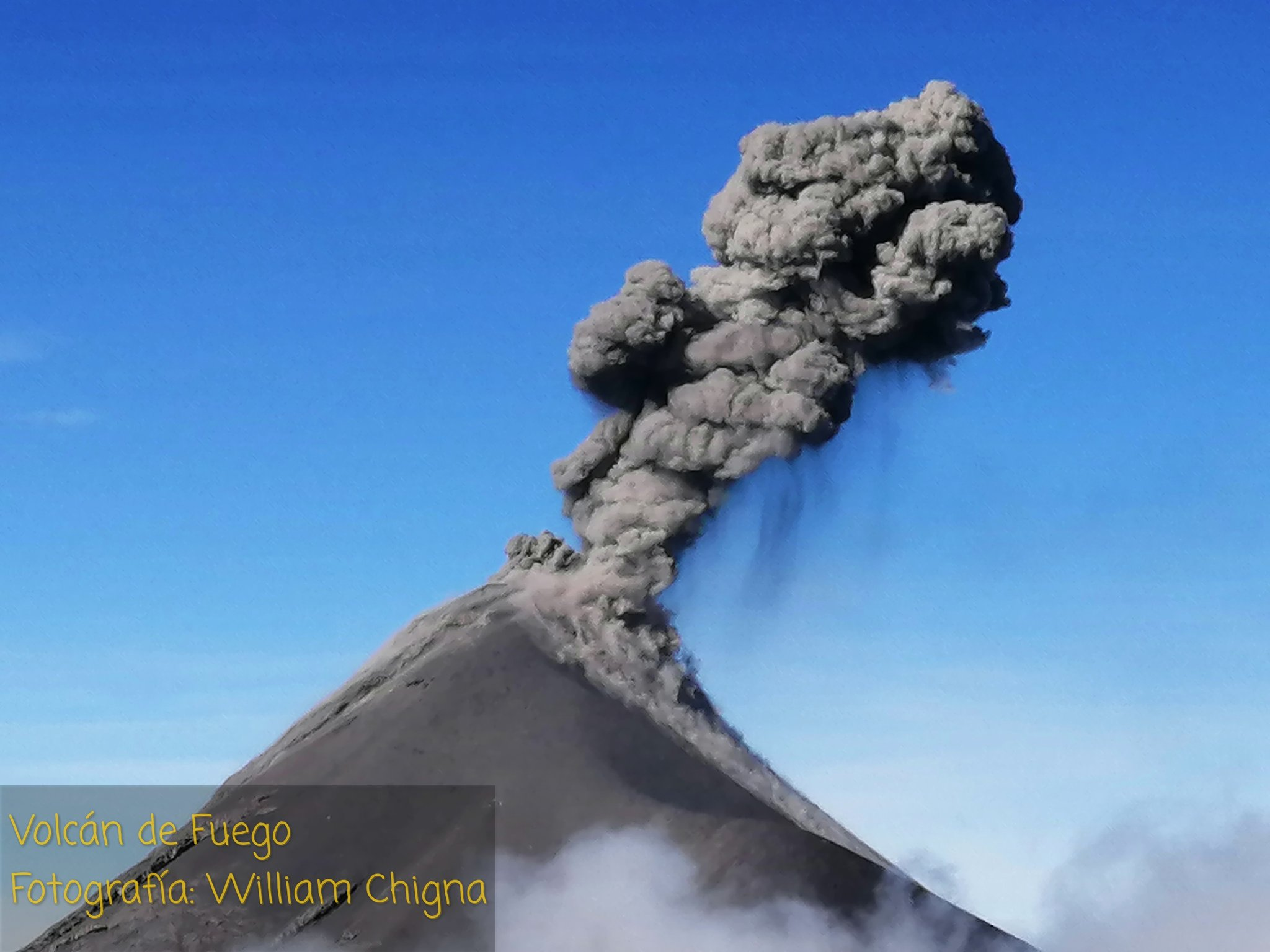 Pyroclastic material (so-called tephra) erupted from Fuego volcano on 17 July (image: @William_Chigna/twitter)