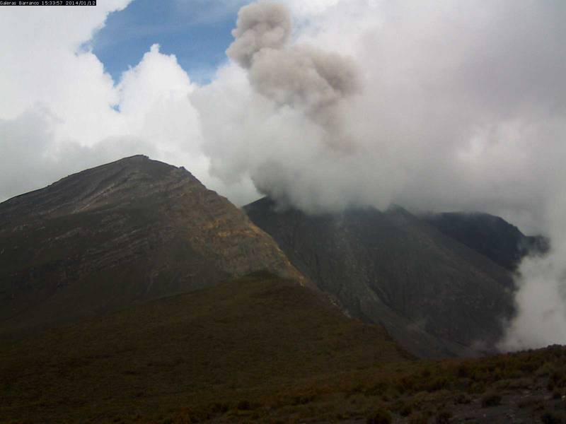 Ash emissions from Galera yesterday (INGEOMINAS)