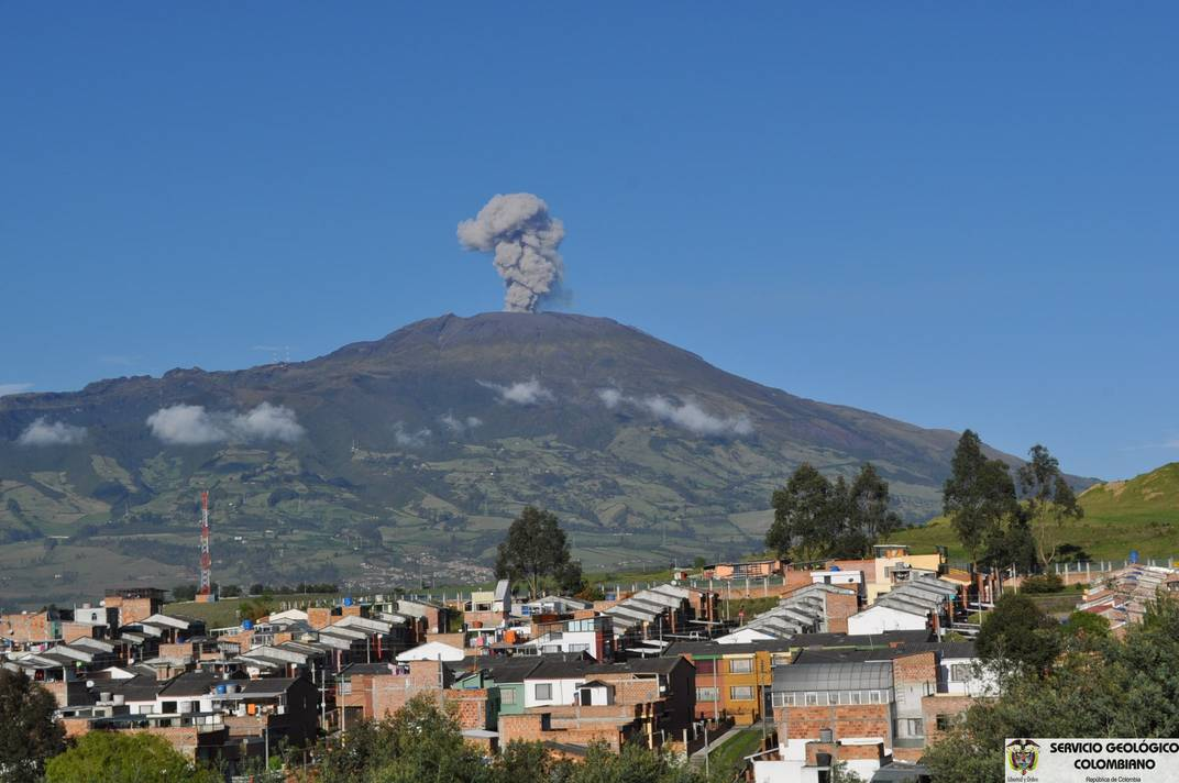 Small ash emission observed from the Pasto Volcano Observatory on 17 Dec (INGEOMINAS)