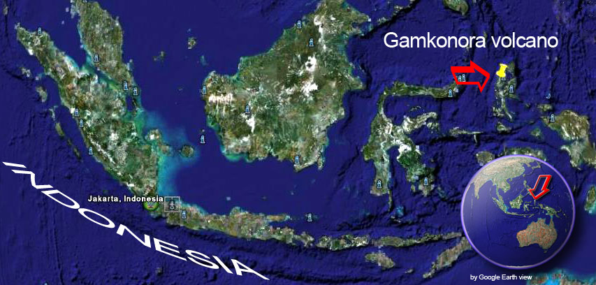 Satellite image of Gamkonora volcano (by Google Earth View)