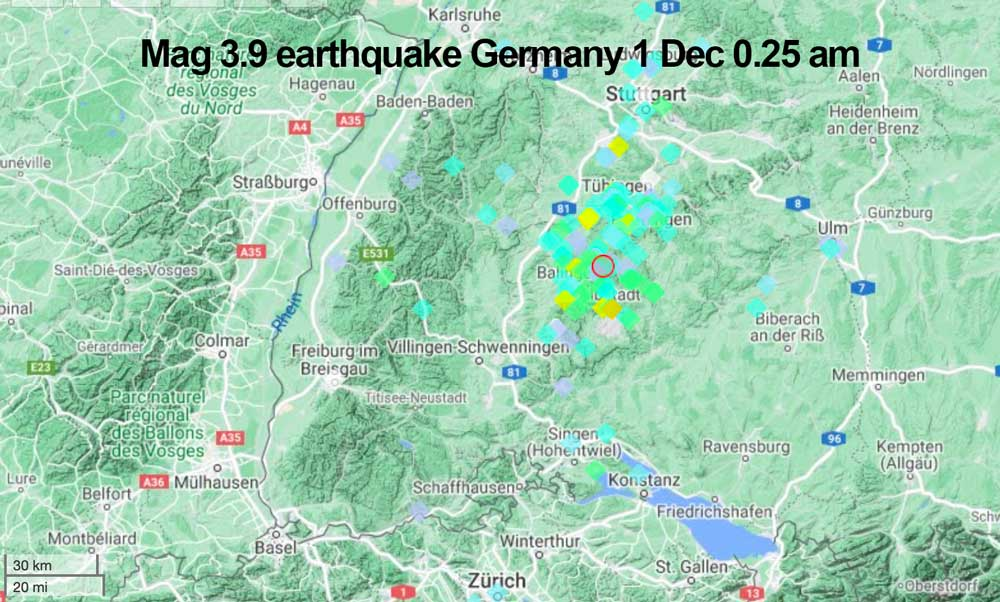 Location and user reports of this morning's earthquake in Germany