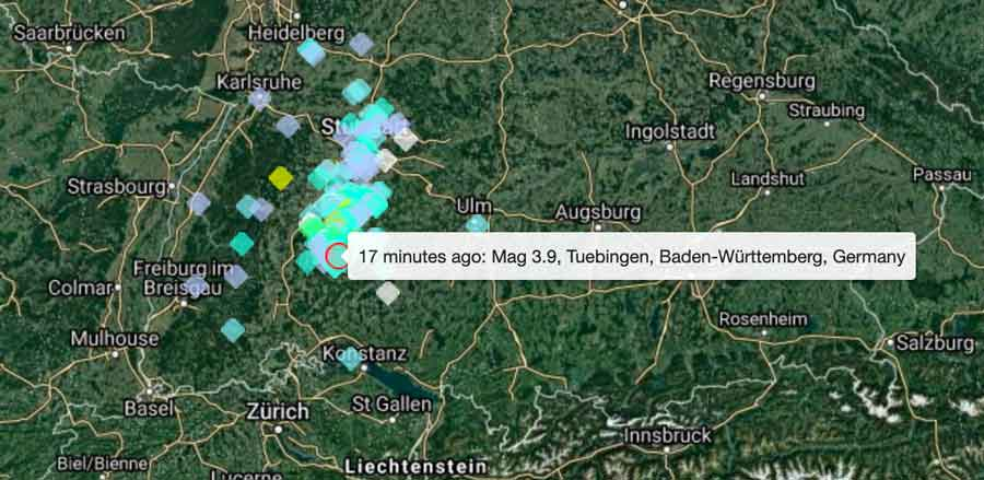 Location of this evening's quake in Germany and user reports