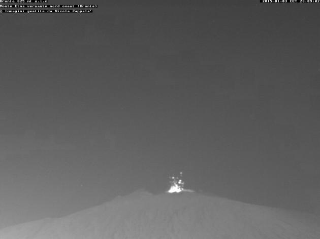 Strombolian  activity at Voragine crater this evening seen from Bronte (nicola76.beepworld webcam)