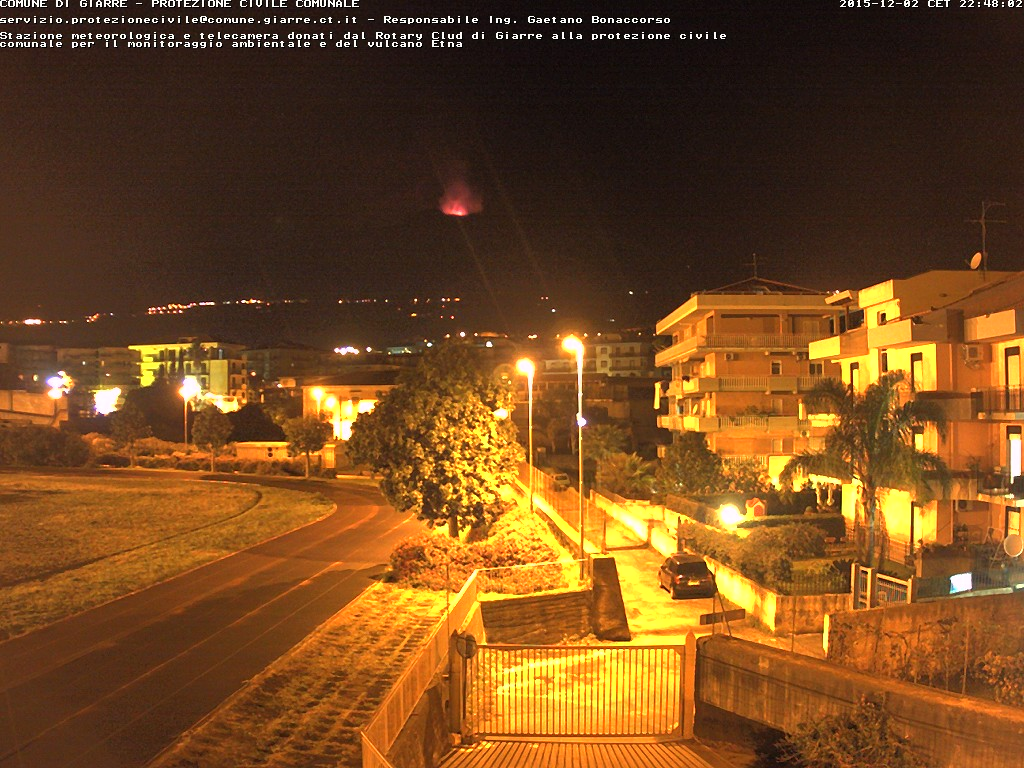 Strombolian activity at the Voragine crater seen from the East(comune Giarre - DPC)