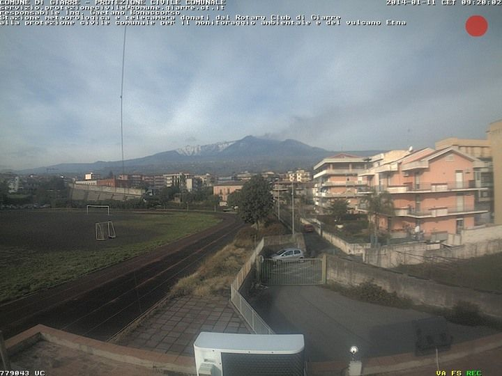 Ash plume from Etna's NE crater seen from Giarre