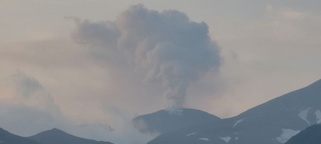 Venting of near-constant emissions of gas and steam from the active lava dome (image: AVO)