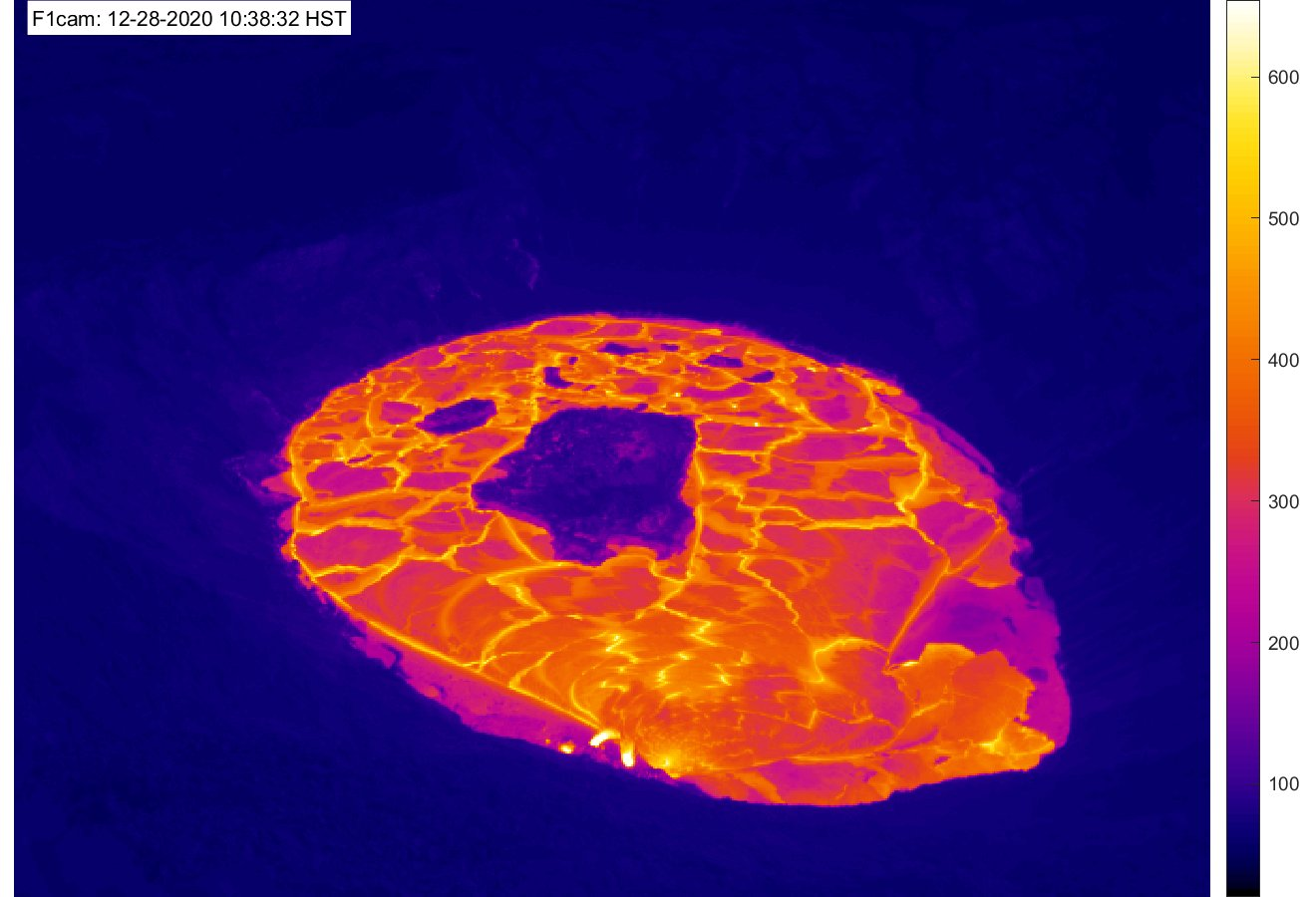 Kilauea's lava lake this evening (themal webcam image of HVO)