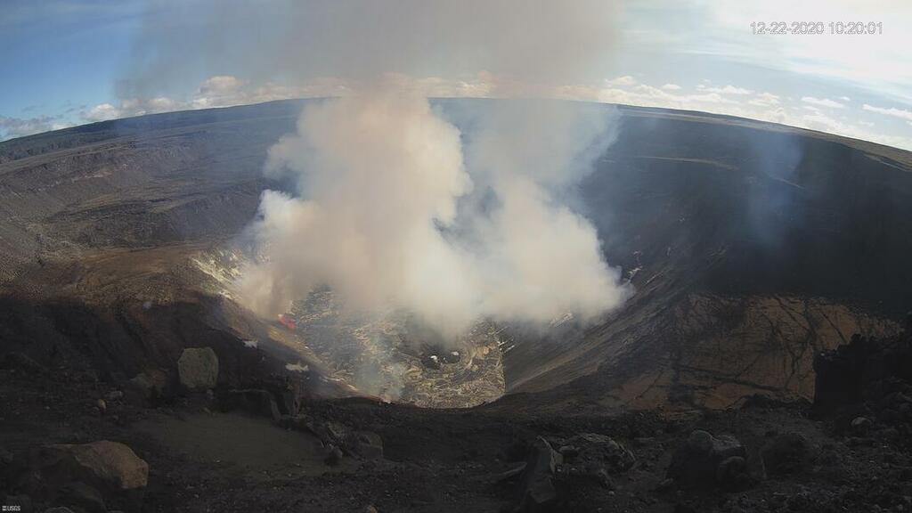 View of the Kilauea crater in the morning of 22 Dec 2020 (image: HVO)