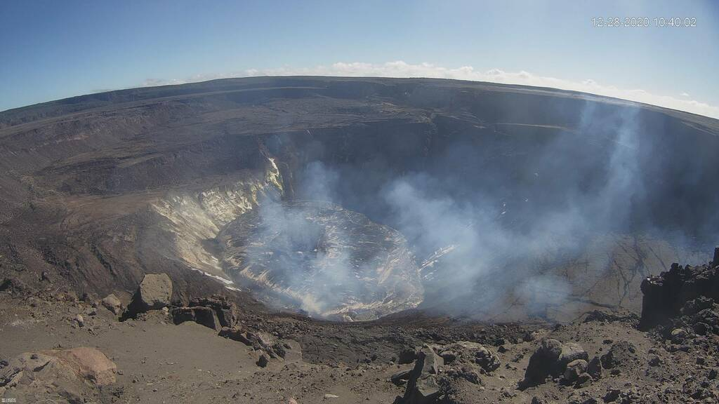 The view of the lava lake on the normal webcam on the western rim (HVO)