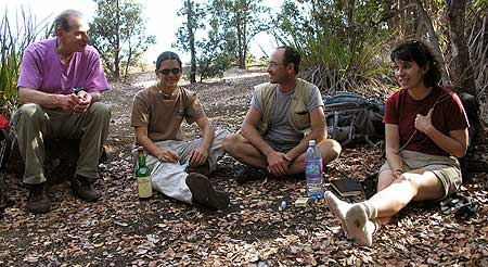 Enjoying a break during a long hike (Bob, Phil, Tom, and Pam; l. to r.)