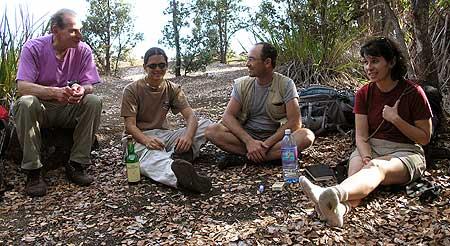 Enjoying a break during a long hike (Bob, Phil, Tom, and Pam; l. to r.)