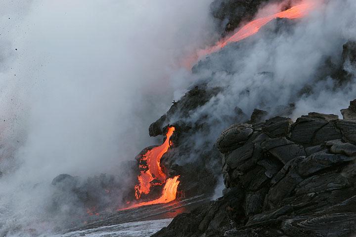 Lava flowing into the sea from Kilauea volcano, Hawaii