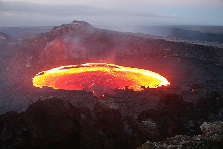 Volcanoes of Hawai'i (here a photo from a lava lake of Kilauea volcano)