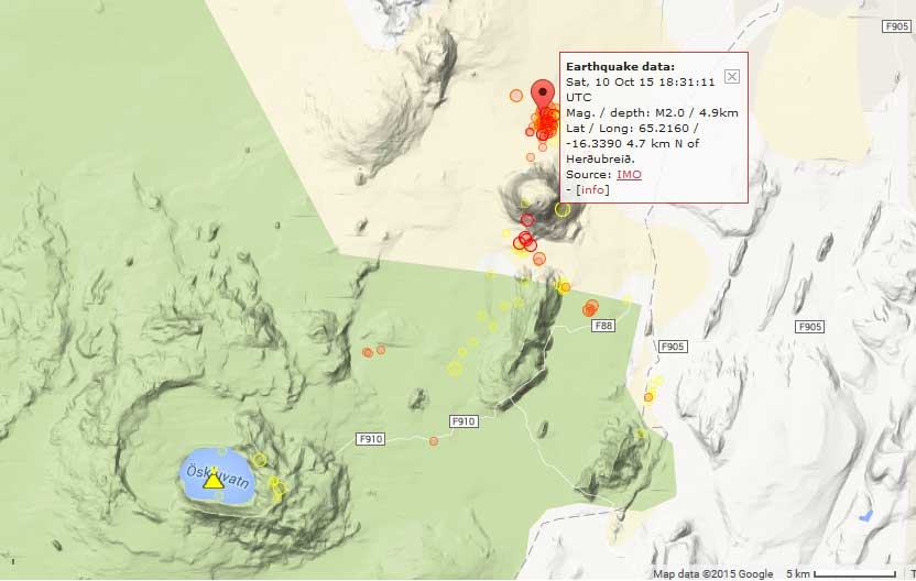 Recent earthquakes under Herdubreid volcano
