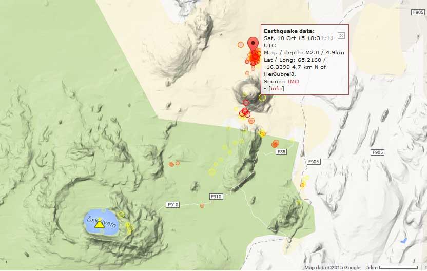Recent earthquakes under Herdubreid volcano