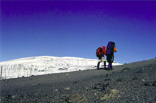 Trekkers up on the crater rim of Kibo