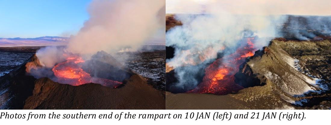 Comparison of the Baugur vent showing the decrease in activity (photo: Morten S.Riishuus & Ármann Höskuldsson / IES FVNH)