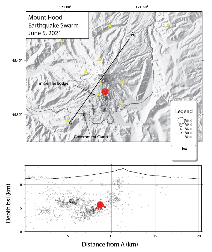 Earthquakes from 5 June shown with red circles, yellow triangles are seismic stations (image: CVO)