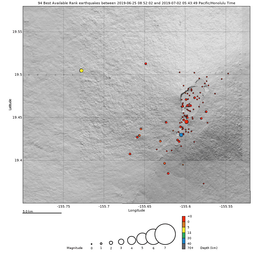 Earthquakes under Manua Loa during the past week (image: HVO / USGS)