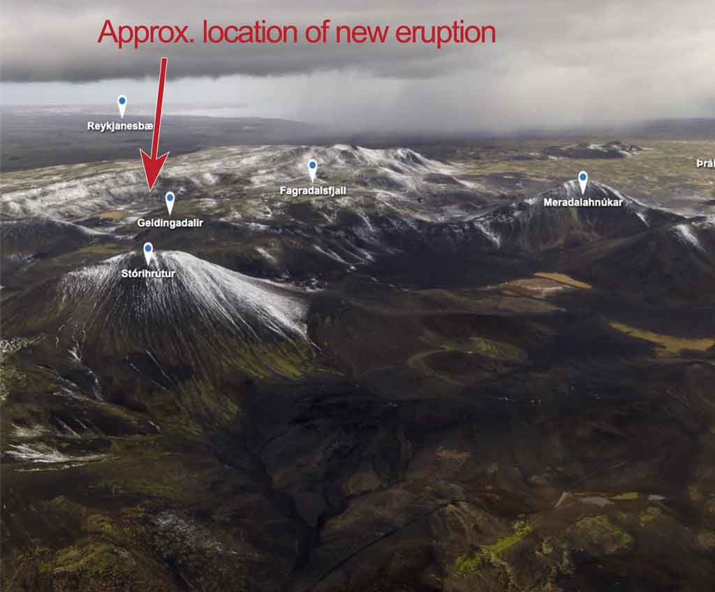 View of the eruption area (modified from Iceland Monitor)