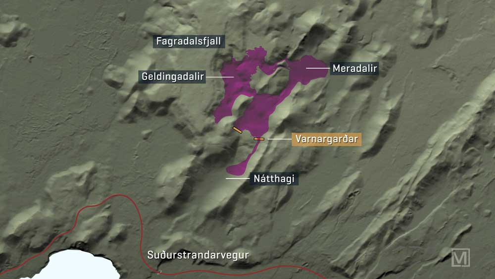 Current map of the lava flows as of 23 May 2021 (image: RUV.is)