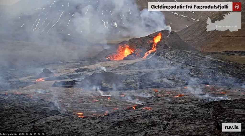 View of the eruption in Iceland this morning (image: RUV webcam)
