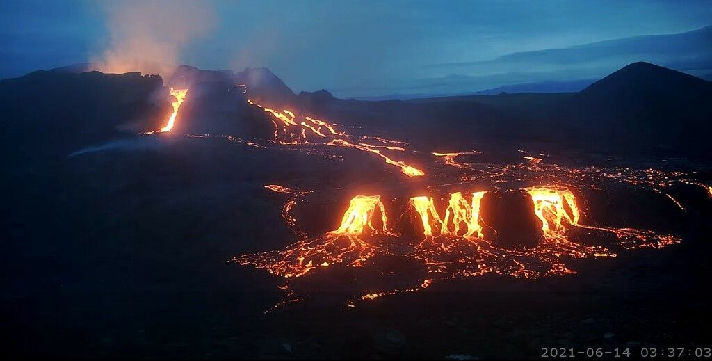 Lava flows near the vent at Fagradalsfjall volcano in Iceland yesterday (image: mbl webcam)