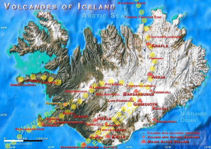 Carte simplifiée de l'Islande montrant les volcans actifs