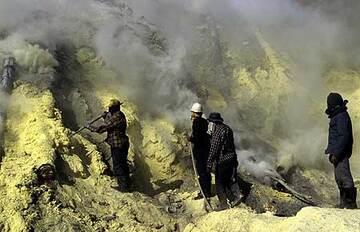 Sulphur quarry at Ijen volcano