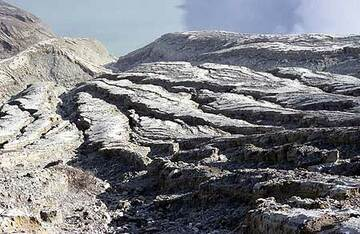 The acid blue crater lake of Ijen volcano