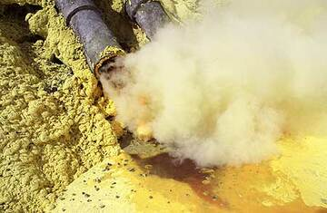 Close up of the condensating and sublimating sulphur vapor